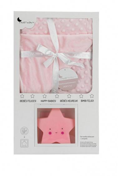 interbaby deken met lamp junior 80 x 110 cm fleece roze 2 delig 2 821378 1616839111