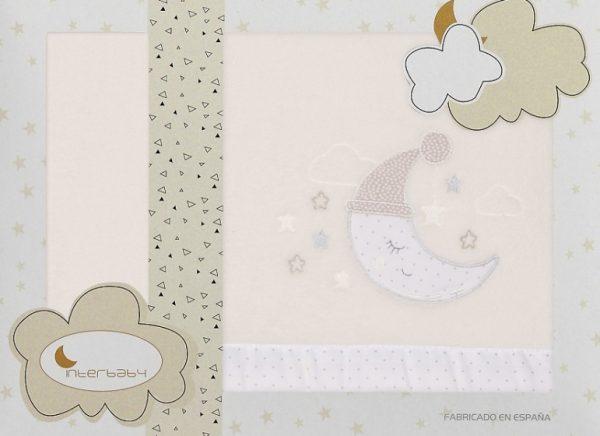 interbaby lakenset wieg maan 110 x 82 cm polyester beige 3 delig 535878 1611839369