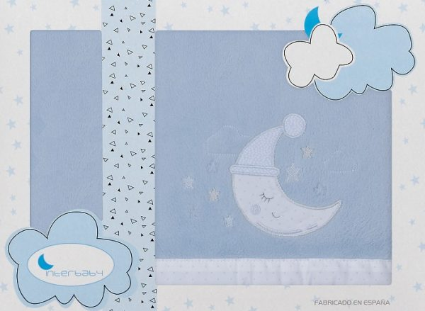 interbaby lakenset wieg maan 110 x 82 cm polyester blauw 3 delig 535872 1611838976