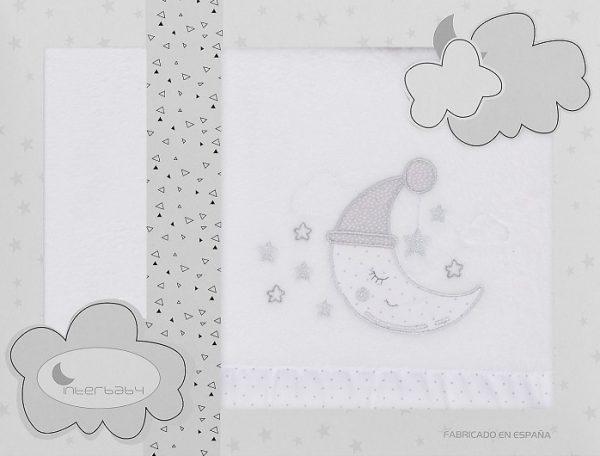 interbaby lakenset wieg maan 110 x 82 cm polyester grijs 3 delig 535892 1611840039