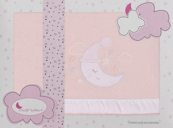 interbaby lakenset wieg maan 110 x 82 cm polyester roze 3 delig 535875 1611839161