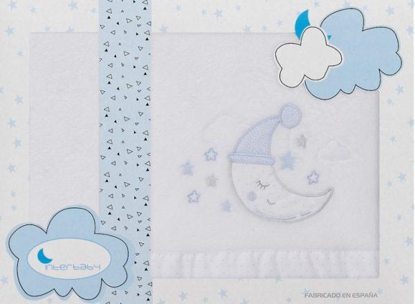 interbaby lakenset wieg maan 110 x 82 cm wit blauw 3 delig 535882 1611839568