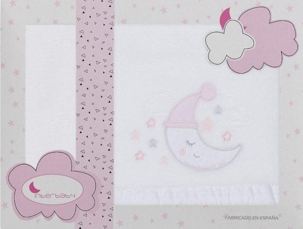 interbaby lakenset wieg maan 110 x 82 cm wit roze 3 delig 535887 1611839806