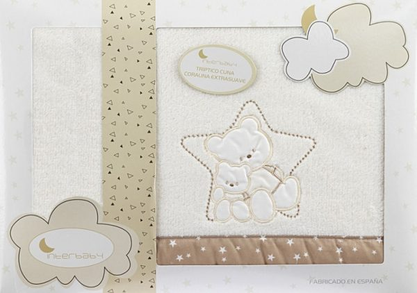 interbaby lakenset wieg ster 110 x 82 cm polyester beige 3 delig 535971 1611844141