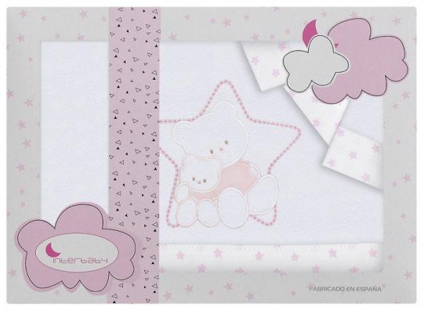 interbaby lakenset wieg ster 110 x 82 cm wit roze 3 delig 535981 1611844771
