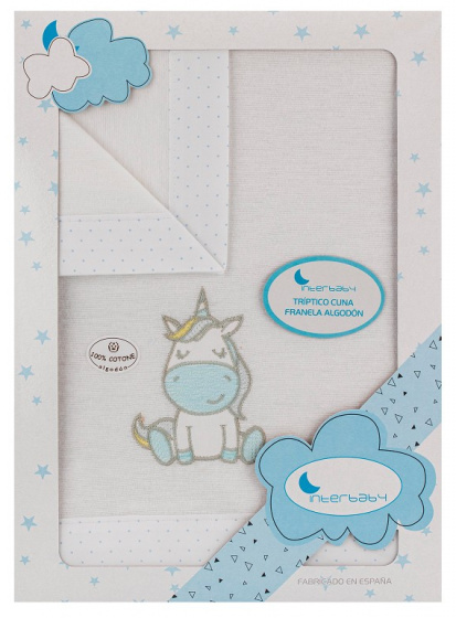 interbaby lakenset wieg unicorn 152 x 102 cm katoen blauw 3 delig 535709 1611829187