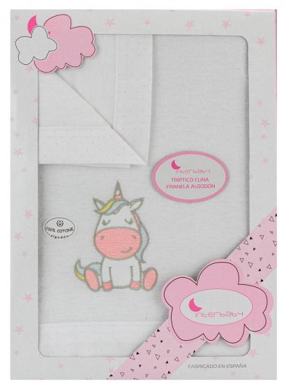 interbaby lakenset wieg unicorn 152 x 102 cm katoen roze 3 delig 535710 1611829403