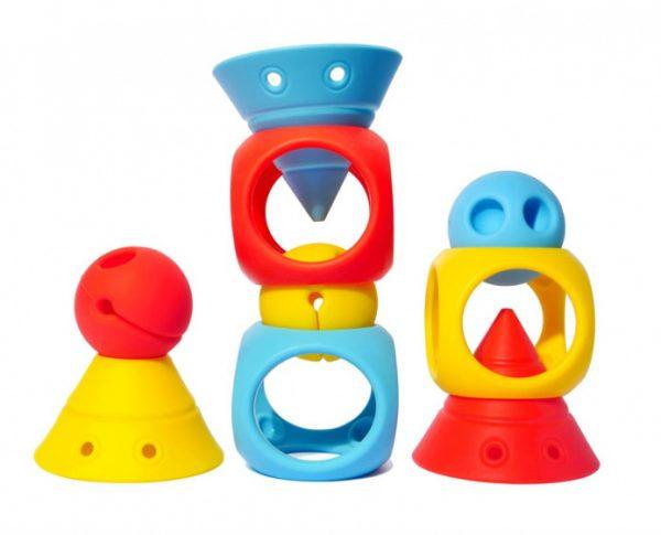 moluk omvormbare speelblokken elastisch rubber 9 stuks oranje geel blauw 380364 1586434700