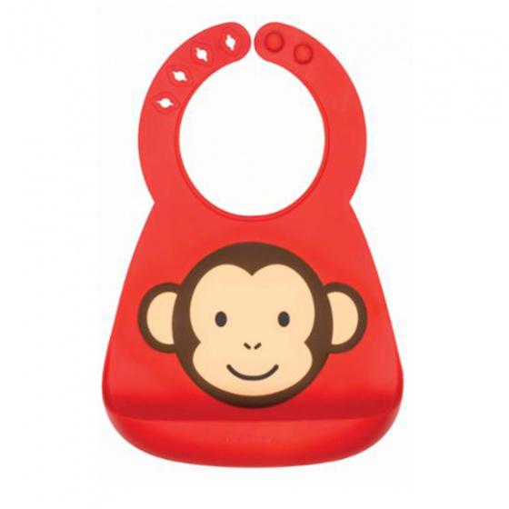 nuby slabbetje 3d dierendesigns aap siliconen 25 cm rood 420209 1592476152