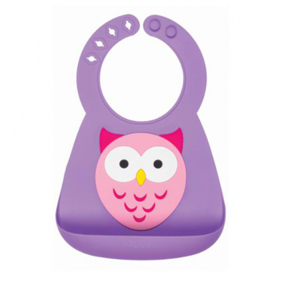 nuby slabbetje 3d dierendesigns uil siliconen 25 cm paars 420201 1592476056