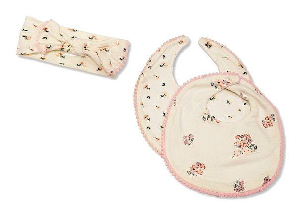 nursery time babyset slabben en hoofdband creme roze 3 delig 498434 1605524154