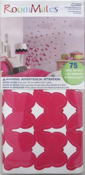 roommates muurstickers pink butterflies vinyl 75 stuks 2 326181 1571811672