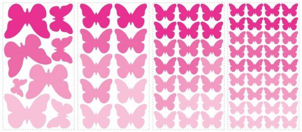 roommates muurstickers pink butterflies vinyl 75 stuks 326181 1571811672
