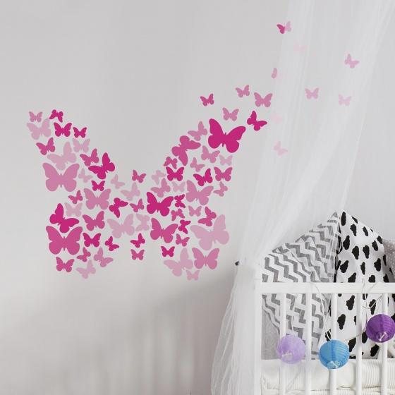 roommates muurstickers pink butterflies vinyl 75 stuks 4 326181 1571811674