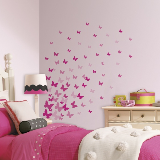 roommates muurstickers pink butterflies vinyl 75 stuks 5 326181 1571811676
