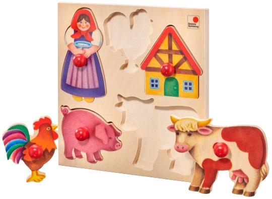 selecta spielzeug vormenpuzzel boerderij junior hout 5 stukjes 431859 20201224135542
