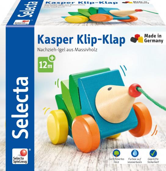 selecta trekfiguur egel kasper klip klap 16 cm hout groen blauw 2 431733 1594388400